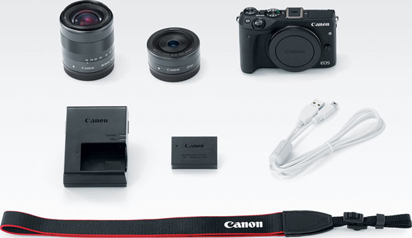 A two lens kit featuring the EOS M3 digital camera with the EF-M 18-55mm IS STM lens and the EF-M 55-200mm IS STM lens.