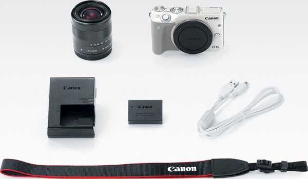 Canon EOS M3 camera and EF-M 18-55mm IS STM lens kit in white
