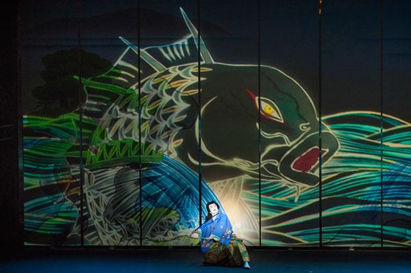 "Kabuki actor, Ichikawa Somegoro on a special stage of ""Koi-Tsukami"" (Fight with a Carp): Image Courtesy of Panasonic"