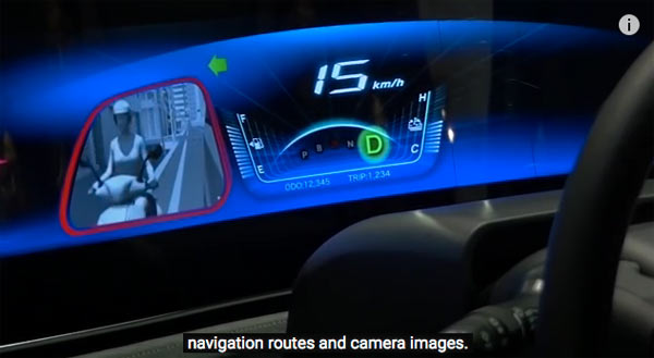Panasonic's next generation concept car: Navigation routes and camera images.  Image grab from video below.