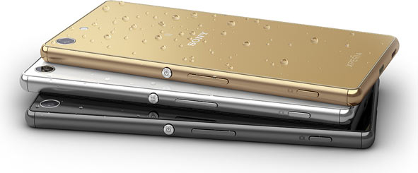 """Sony Xperia M5: """"Caught in a sudden downpour? Continue chatting or snapping without a worry."""""""