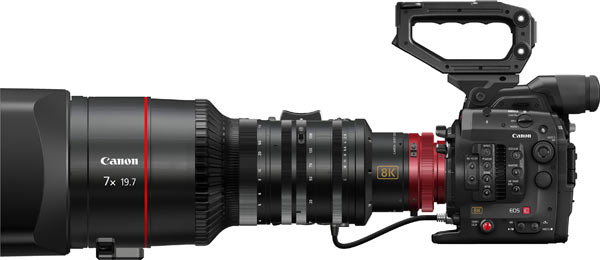 """Cinema EOS System 8K camera will be equipped with a Canon Super 35 mm-equivalent CMOS sensor that makes possible high-resolution 8,192 x 4,320 pixel (approximately 35.39 million effective pixels) imaging performance, even at a frame rate of up-to-60 frames per second with 13 stops of dynamic range and """"a richly expressive"""" wide color gamut."""