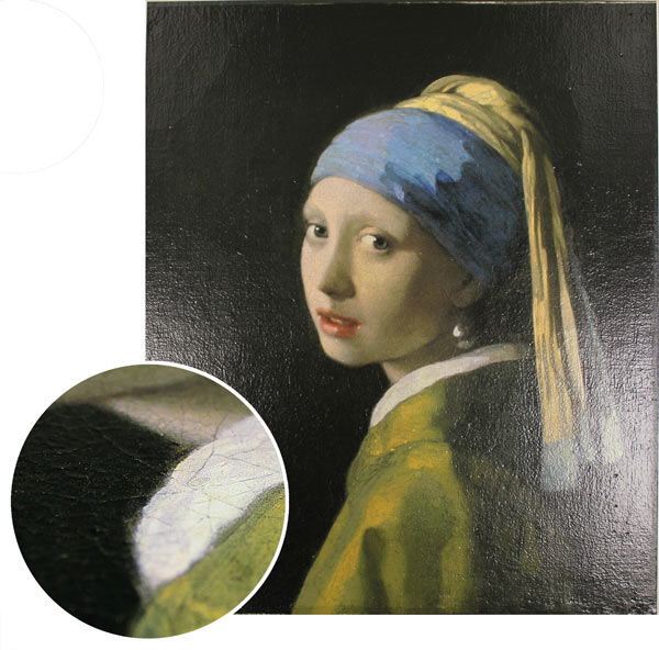 Print sample created using material appearance image-processing technology: Oil painting (Girl with a Pearl Earring by Johannes Vermeer)