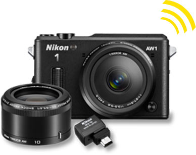 Nikon 1 AW1 camera 2 lens kit and WU-1B Wireless Adapter