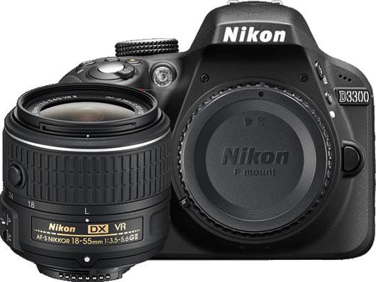 Nikon D3300: body with AF-S DX NIKKOR 18-55mm f/3.5-5.6G VR II