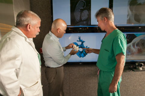 Surgical team from Nicklaus Children's Hospital determines the best course of action by visualizing the surgical solution on the model. (Photo: Stratasys)