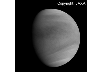 Capturing image of Venus: taken by the Ultraviolet Imager (UVI) which employs Nikon's optical systems: At around 2:19 p.m. on Dec. 7 (Japan Standard Time) at the Venus altitude of about 72,000 km