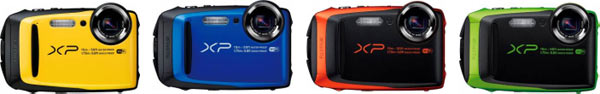 FinePix XP90 (left to right): Yellow, Blue, Graphite with orange, and Graphite with green