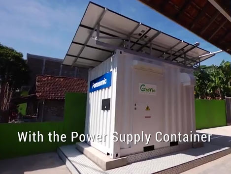 Solar panels are located above the Power Supply Container: Image grab from video above