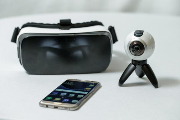 Left to right: Samsung Gear VR, Samsung smartphone, Samsung Gear 360