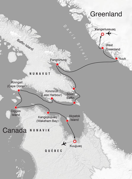 """Heart of the Arctic 2016: """"Sondre Stromfjord is one of the longest fjords in the world and boasts 168 kilometres of superb scenery. Kangerlussuaq, the town at its eastern head, means 'the big fjord.' We begin our adventure by sailing down this dramatic fjord as the sun sets before us."""""""