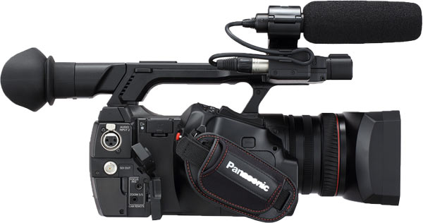 """Panasonic AJ-PX230PJ: """"The ergonomic design of the AJ-PX230 sees the common video and audio connections mounted on the side of the camera, keeping them out of the way when cables are connected. When it comes to control layout, the low weight and well balanced AJ-PX230 takes many of its inspirations from the professional shoulder mount style cameras. White balance and video gain control toggle switches are positioned easily to hand under the lens and an audio fader control and record start/stop are located at the front of the camera."""""""