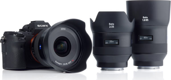 Batis range of lenses (left to right): super wide-angle lens ZEISS Batis 2.8/18, and lenses ZEISS Batis 2/25, ZEISS Batis 1.8/85