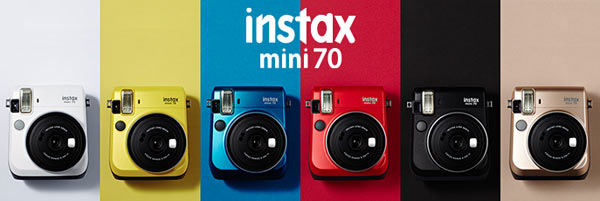 Fujifilm instax Mini 70 (left to right): Moon White, Canary Yellow, Island Blue, Passion Red, Midnight Black, and Stardust Gold