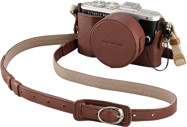 Olympus PEN E-PL8 (Black) + optional Genuine Leather Body Jacket, CS-45B (Brown) + optional Genuine Leather Lens Cover, LC-60.5GL (Brown) + bundled Genuine Leather Shoulder Strap, CSS-S109LL II (Brown)