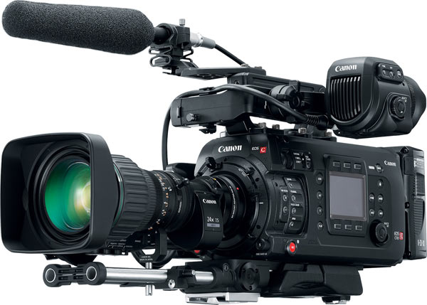 Canon EOS C700 with HJ24EX7 5B IASE lens, Shoulder Support Unit SU-15, Canon EOS C700 with CN-E35mm T1.5 L F lens Canon EOS C700 CN E35 (CN-E35mm T1.5 L F lens) and OLED 1920×1080 Electronic View Finder EVF-V70, and B4 mount adapter MO-4E