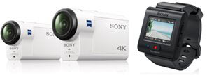 Sony HDR-AS300 (left, ) FDR-X3000R 4K (center) and Live-View Remote (right)