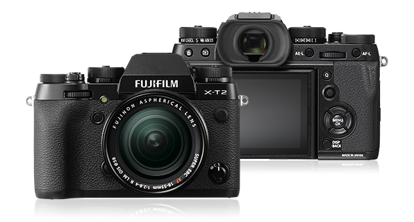 FUJIFILM X-T2, front view (left) and back view (right)
