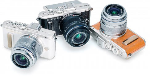 Olympus PEN E-PL8: (left to right) white, black, brown colors