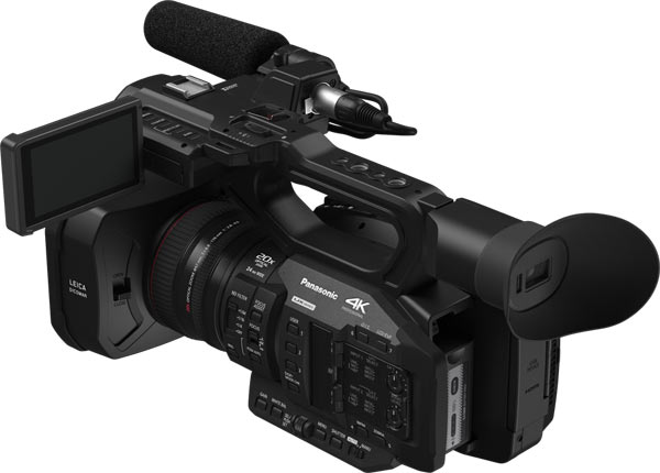 Panasonic UX Premium Model AG-UX180, back view: The high-resolution OLED EVF features a 1.77 million dot display