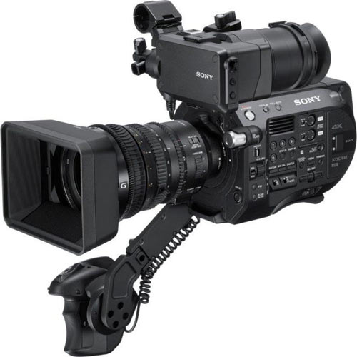 Sony FS7 II with clip-on eyepiece with a pop-up hood attached to LCD monitor
