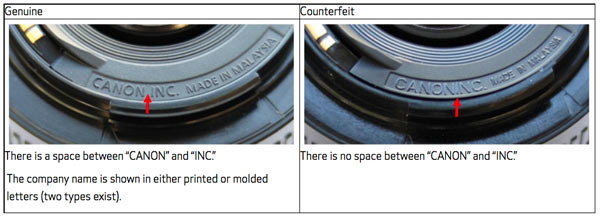 Genuine (left) and Counterfeit (right) Canon EF 50mm f/1.8 II lenses