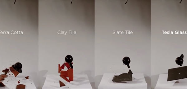 Elon Musk unveils Solar Roof (2016.10.28): After Impact, Roof Tiles (left to right): Terra Cotta, Clay, Slate and Tesla Glass; Image grab from video above
