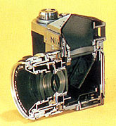 Nikon F cut-out showing the reflex box and pentaprism