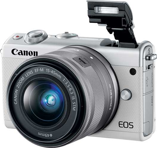 Canon EOS M100, white, with Flash up