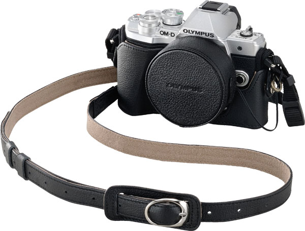 Olympus OM-D E-M10 Mark III with optional genuine leather case, lens cover and strap
