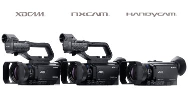 Sony (left to right): XDCAM PXW-Z90, NXCAM HXR-NX80 and Handycam FDR-AX700