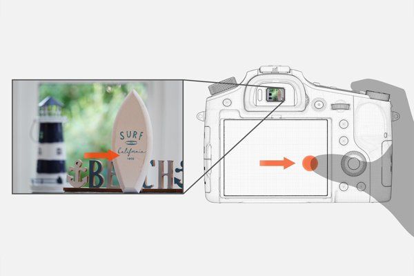 """Sony RX10 IV's Touch Focus: """"Slide your finger to shift focus. It's handy while monitoring the viewfinder. Simply touch the LCD screen to focus on the chosen subject."""" Image Courtesy of Sony"""