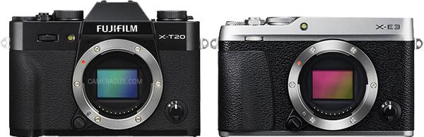 Fujifilm X-E3 size compared to X-T20