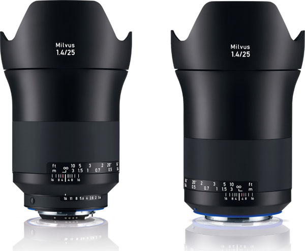 Zeiss Milvus 25mm f/1.4 ZF.2 Lens for Nikon F (left) and Zeiss Milvus 25mm f/1.4 ZE Lens for Canon EF (right)