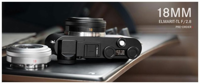 Leica: Elmarit-TL 18mm f/2.8 ASPH, silver lens (left); Leica CL camera with Elmarit-TL 18mm f/2.8 ASPH. lens, black (right)