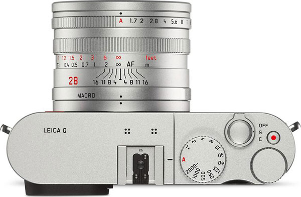Leica Q Silver, top view