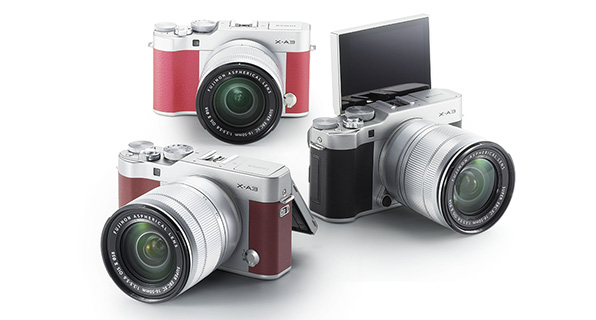 Fujifilm X-A3 (left to right): brown, pink, silver
