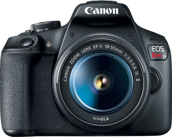 Canon EOS Rebel T7 camera with EF-S 18-55 f/3.5-5.6 IS II lens