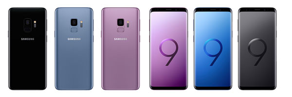 Samsung Galaxy S9 (left to right): Midnight Black - back view, Coral Blue - back view, Lilac Purple - back view, Lilac Purple - front view, Coral Blue - front view, and Midnight Black - front view