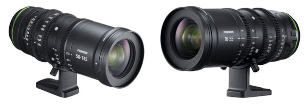Fujifilm: FUJINON MKX 50-135mmT2.9 (left) and MKX18-55mmT2.9 (right) ultra-compact cinema lenses