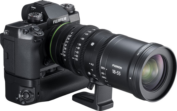 Fujifilm X-H1 with Vertical Battery Grip VPB-XH1 and FUJINON MKX18-55mmT2.9 cinema lens