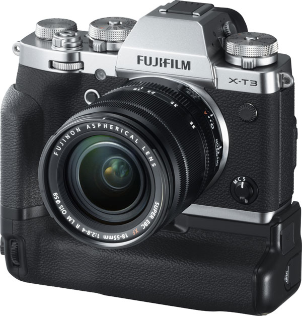 Fujifilm X-T3, silver, with Vertical Battery Grip