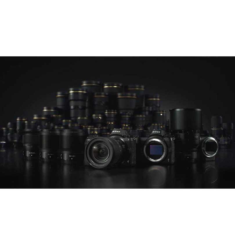 Nikon (left to right; front row): Standard zoom NIKKOR Z 24-70mm f/4 S, wide-angle prime NIKKOR Z 35mm f/1.8 S, standard prime NIKKOR Z 50mm f/1.8 S, Nikon Z 7 and Nikon Z 6 full-frame mirrorless cameras, NIKKOR Z 58mm f/0.95 S Noct lens (under development), and Mount Adapter FTZ for Z System compatibility with existing NIKKOR F mount lenses