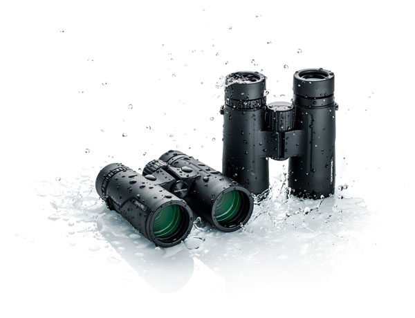 Olympus 8x42 PRO (left) and 10x42 PRO (right) are waterproof, keeping water out when submerged at a depth of three feet for up to five minutes.