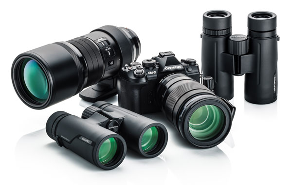 Olympus (left to right): 300mm PRO Lens,  8x42 PRO Binocular, E-M1 Mark II Camera + 40-150mm PRO Lens, 10x42 PRO Binocular