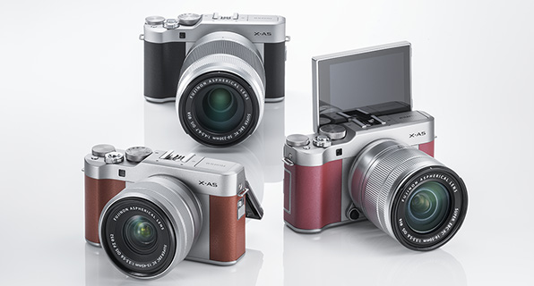 FUJIFILM X-A5 (clockwise): silver, pink, brown