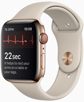 Apple Watch Series 4 (GPS + Cellular): Taking an ECG is easy with a touch of the Digital Crown.