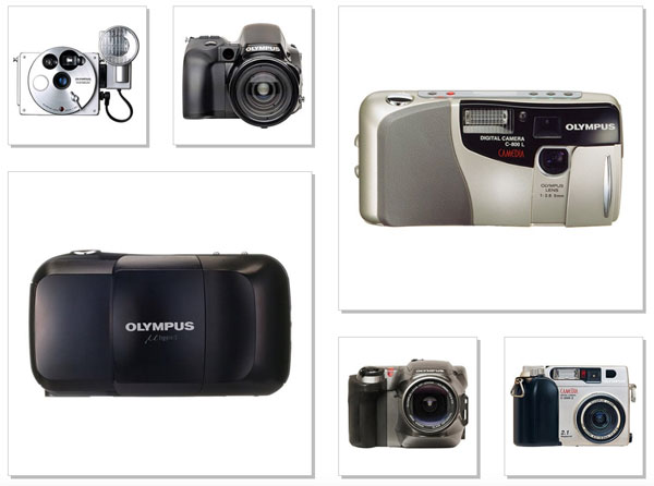 Olympus Cameras: (left-hand side, clockwise) - 1988, the O-product was a compact camera with an aluminum body; 1990, L-1; 1991, μ[mju:] (Stylus); (right-hand side, counterclockwise) - 1996, CAMEDIA C-800L; 1997, CAMEDIA C-1400L was a fixed-lens digital single-lens reflex camera; 1999, CAMEDIA C-2000 ZOOM