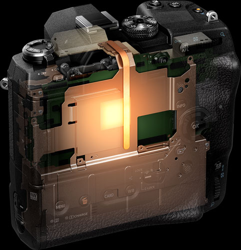 Olympus OM-D E-M1X: Construction that dissipates heat when shooting video and during high speed shooting in very hot conditions