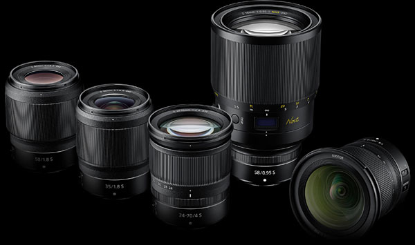 Nikon Lenses (left to right): Nikkor Z 50mm f/1.8 S, Nikkor Z 35mm f/1.8 S, Nikkor Z 24-70mm f/4 S, Nikkor Z 58mm f/0.95 S Noct, Nikkor Z 14-30mm f/4 S
